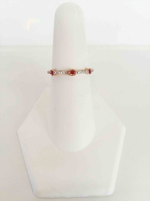 10K Rose Gold Ruby & Diamond Stack Band 0.05 DTW