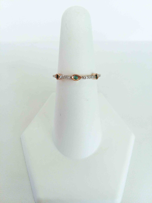 10K Rose Gold Emerald & Diamond Stack Ring 0.05 DTW
