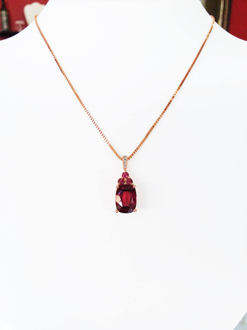 "10 Rose Gold Rhodalite Garnet & Diamond Pendant on 18"" 14KR Box Chain .8mm"