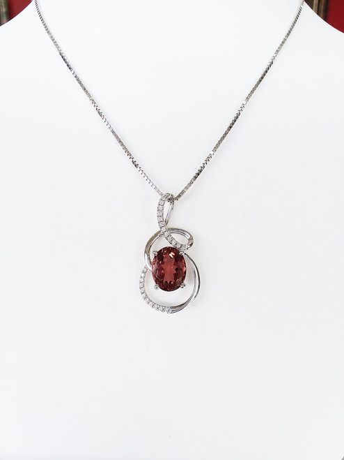 "14K White Gold Oval Rhodalite Garnet & Diamond Swirl Pendant on 18"" Box Chain .8mm"