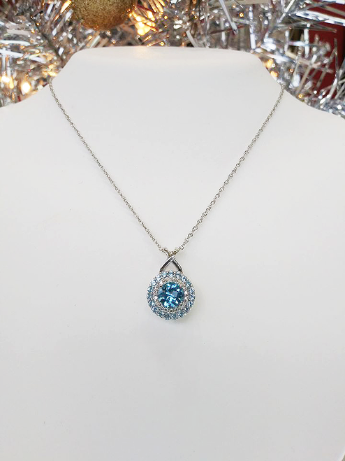"10K White Gold Blue Topaz & Diamond Double Halo Pendant 0.10 DTW 18"" Chain"