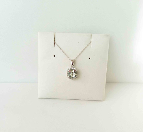 "10K White Gold Cushion Cut Prasiolite & Diamond Pendant 0.10 DTW 18"" Chain"
