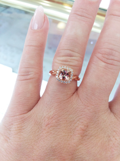 14K Rose Gold Morganite & Diamond Halo With Twisted Shank 0.17 DTW
