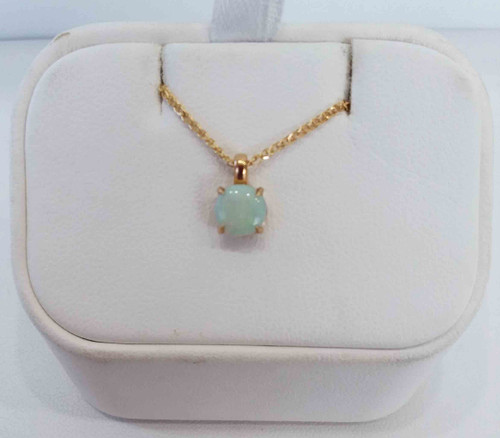 "10K Yellow Gold Round Opal Pendant on 18"" 14KY Open Wheat Chain"