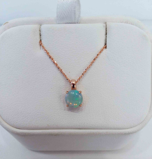 "10K Rose Gold Round Opal Pendant on 16"" 14KR Sparkle Singapore Chain 0.9mm"