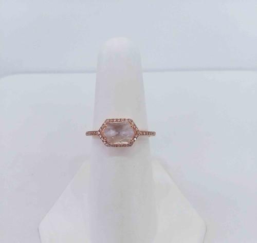 14K Rose Gold Hexagon White Topaz & Diamond Halo Ring 0.13 DTW