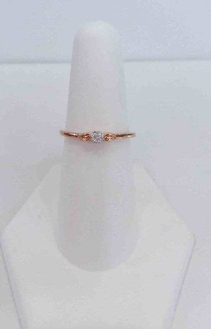 10K Rose Gold Solitare Promise Diamond Ring 0.05 DTW