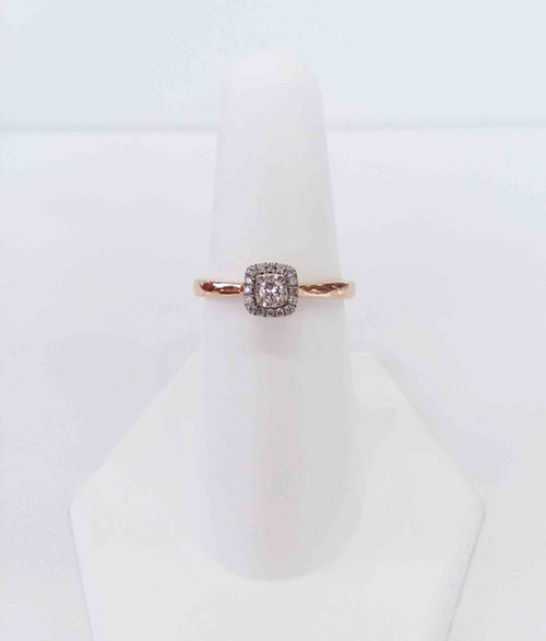 10K Rose Gold Princess Halo Diamond Ring w/Illusion Head Center 0.16 DTW