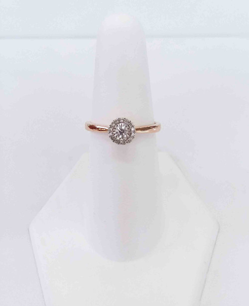 10K Rose Gold Halo Diamond Ring w/Illusion Head Center 0.16 DTW