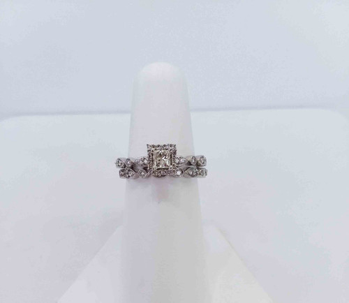14K White Gold 0.25 DTW Band with 0.20 DTW Princess Center - Matching Band 0.10 DTW