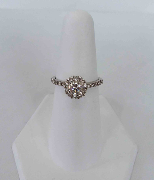 14K White Gold Halo Engagement Ring 0.86 DTW