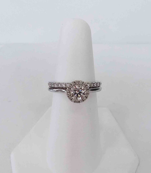 ALL LAB GROWN 14K White Gold Bridal Set w/Round Major 0.67 DTW in a Halo 0.11 DTW w/a Diamond Band 0.33 DTW