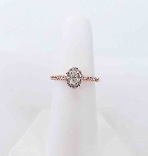 14K Rose Gold Oval Halo Engagement Ring 0.16 DTW w/0.25 Oval Center