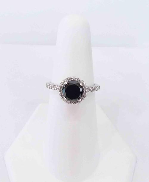14K White Gold Black Diamond Halo Ring 1.15 DTW Blk Dia. 0.50 DTW