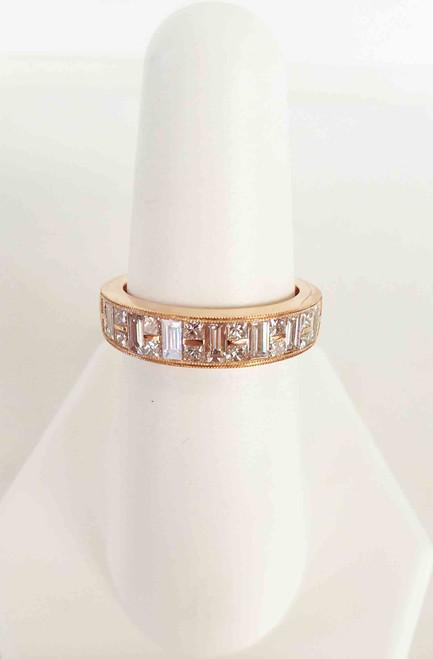 14K Rose Gold 7 Baguette 0.63 DTW & 16 Princess Cut 0.55 DTW Diamond Band (1.18 DTW)