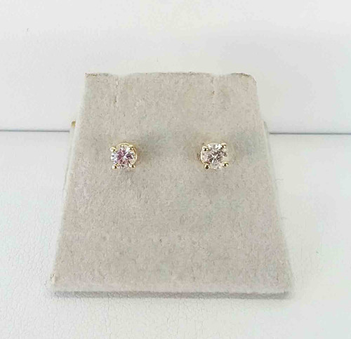 14 Kt Yellow Gold Diamond Studs .34 cts