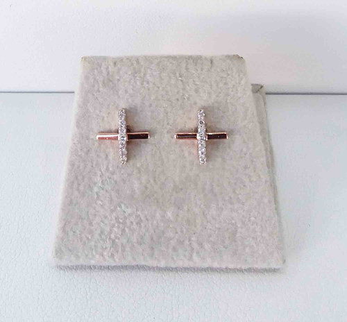 10K Rose Gold Diamond Criss Cross Studs 0.06 DTW