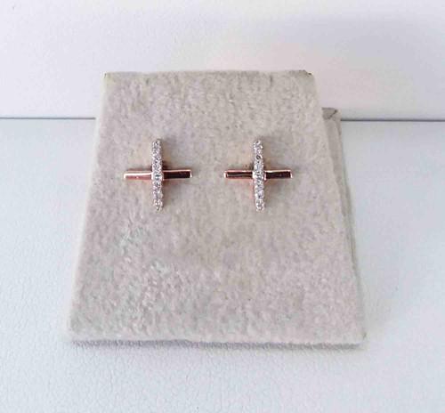 10K Rose Gold Diamond Criss Cross Studs 0.06 DTW