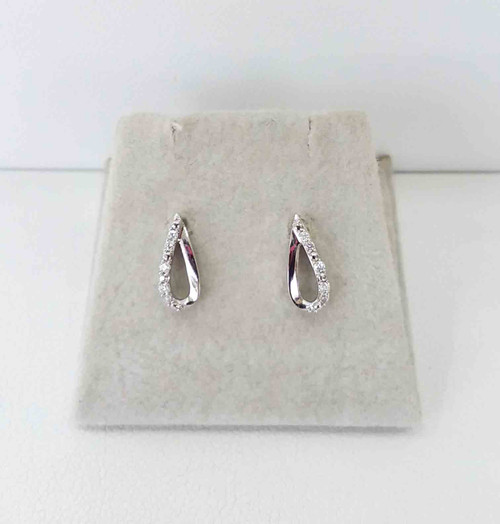 10K White Gold Diamond Teardrop Stud Earrings 0.04 DTW