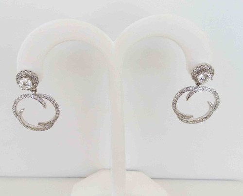 14K White Gold Diamond Double Teardrop Post Earrings  0.76 DTW with 14K White Gold Dangle Earring Jackets 0.75 DTW