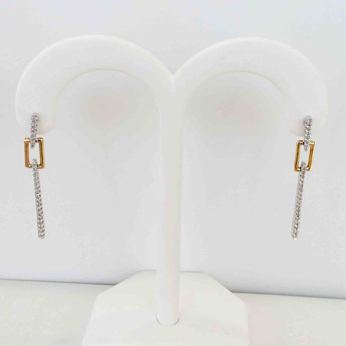 10K Two Tone Gold Box Link With Vertical Diamond Bar Dangle Earrings 0.20 DTW