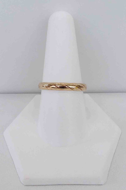 14Kt Yellow Gold Hollow Wedding Band Size 9 (can not be sized)
