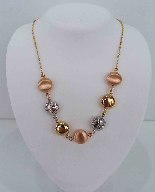 """14K Tri Colored Necklace w/Rose Satin Beads, Yellow H/P Beads, White D/C Beads on a Yellow Chain 18"""""""