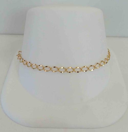14K Yellow Gold Diamond Cut Open Link Bracelet
