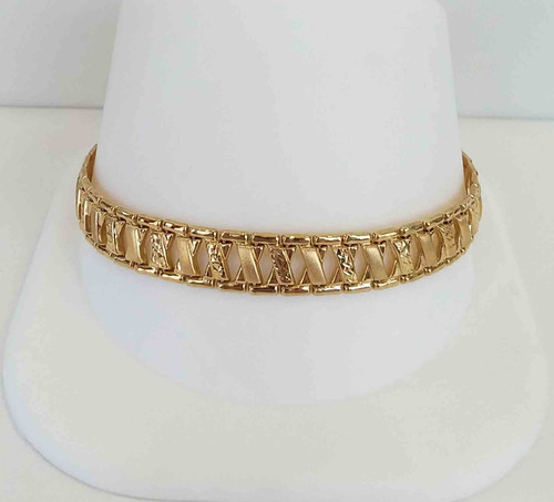 "14K Yellow Gold High Polish & Diamond Cut ""X"" Link Bracelet 7.5"""