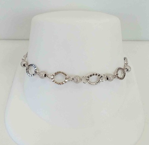 14K White Gold Diamond Cut Oval Link & Satin Beaded Bracelet