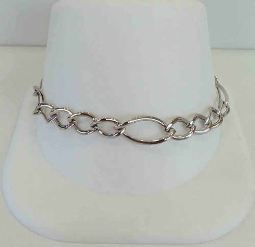 10K White Gold Ladies High Polish Bracelet Large chain