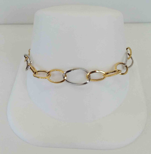 14K Two Tone Yellow & White Open Oval Link Bracelet 7.5""
