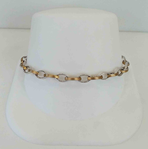 "14K Two Tone (Yellow Gold Satin, White Gold High Polish) 7.5"" Oval Link Bracelet"