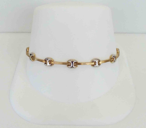 10K Two Tone Ladies Bracelet HP Yellow Bars w/White Links in Between