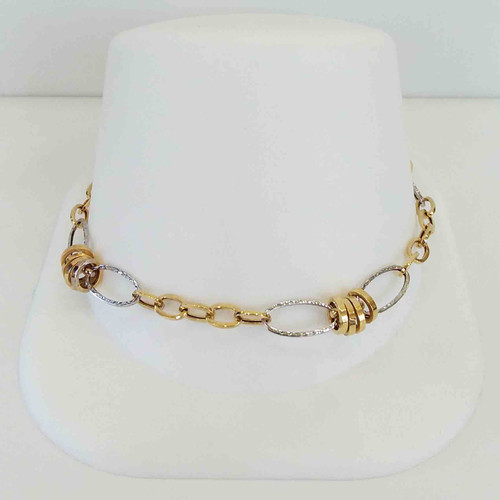 14K Two Tone Yellow & White Fancy Open Link Bracelet 7.75""