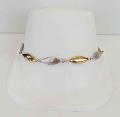 14K Two Tone Yellow & White Satin & HP Oval Link Bracelet