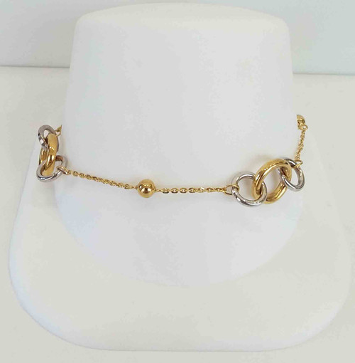 14K Two Tone Cable Chain Bracelet w/Interlocking Circles and High Polish Balls