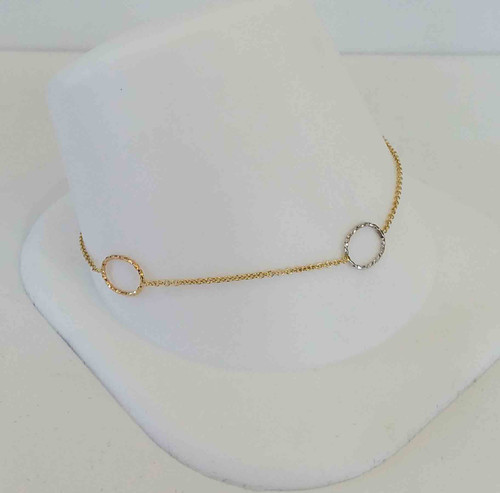 14K Yellow Gold Bracelet w/1 Rose, White, & Yellow Diamond Cut Circles