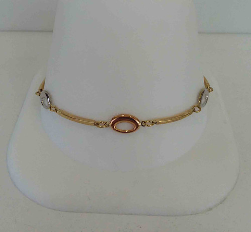 10K Two Tone Ladies Bracelet Yellow Bar Links with Rose & White Ovals in Between