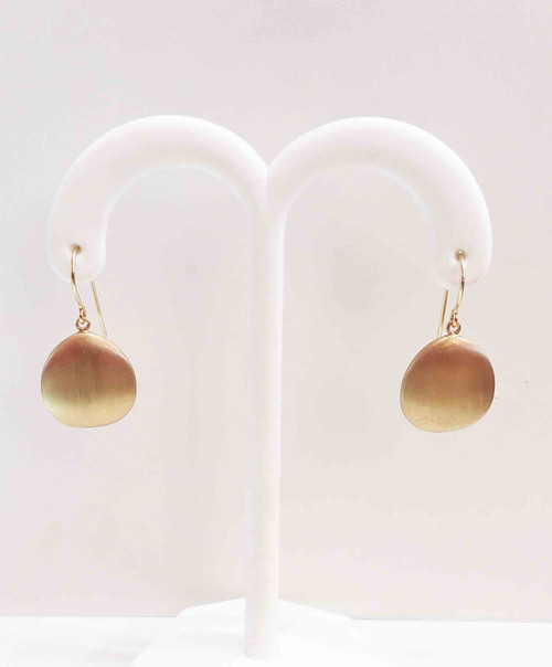 14K Yellow Gold Flat Matte Teardrop Earrings