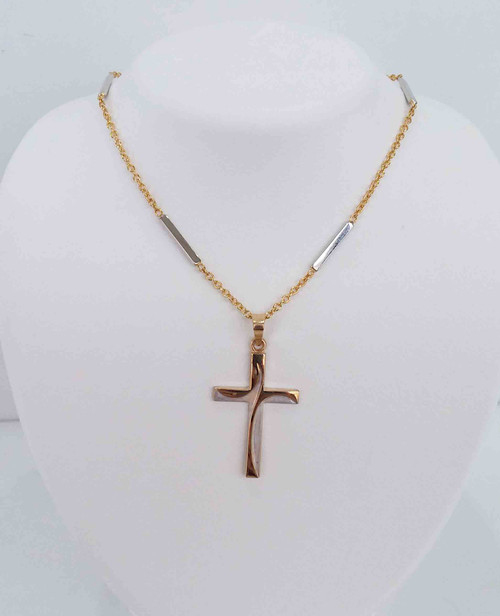 14K Two Tone Rhodium Satin & Polished Latin Cross Pendant on 14K Two Tone Yellow Chain w/7 White Bars spaced out