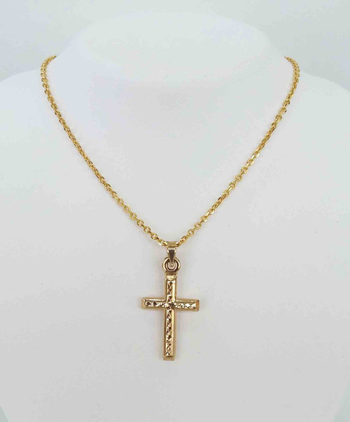 14K Yellow Gold Hollow Diamond-Cut Cross Pendant