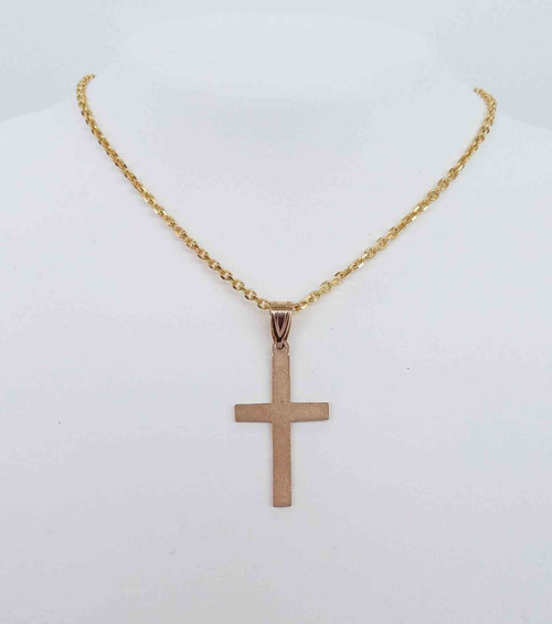 14K Yellow Gold Sand Blasted Cross Pendant
