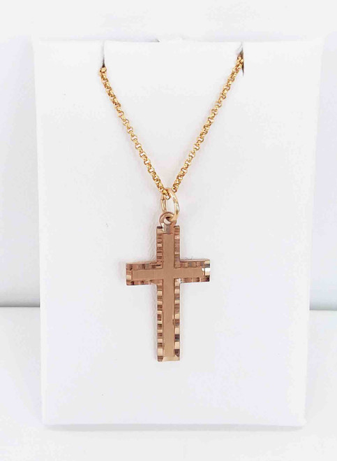 14K Yellow Gold Diamond-Cut Cross Pendant