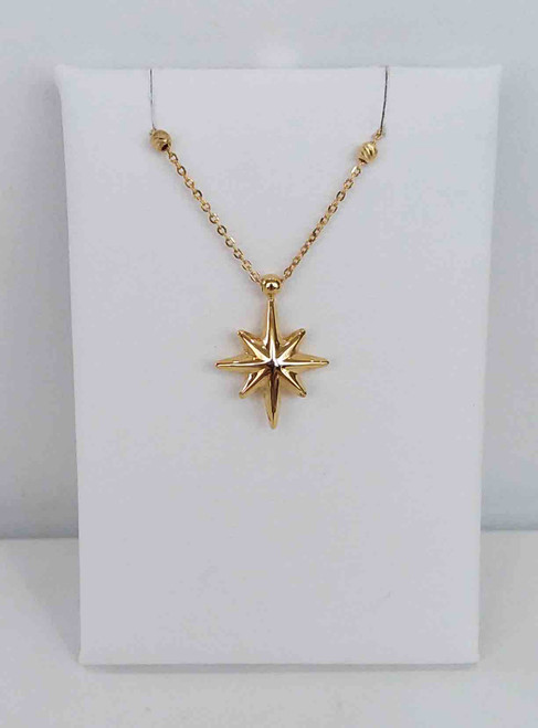 "14K Yellow Gold Star of Bethlehem Pendant on 18"" Chain"