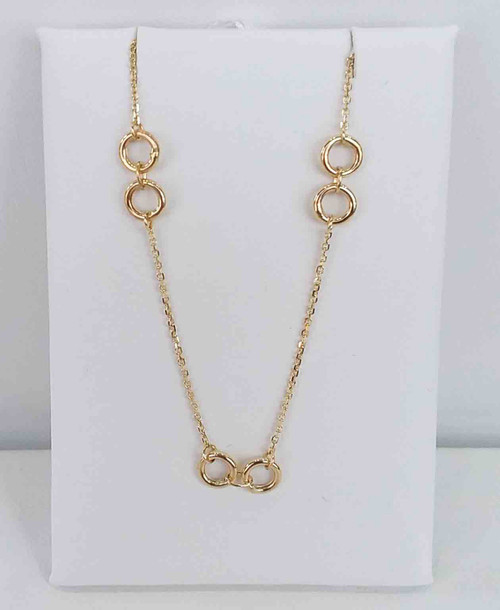 "14K Yellow Gold 18"" Gold Rings Station Necklace"