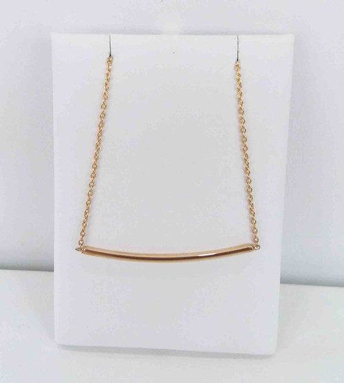 14K Yellow Gold Curved Bar Station Necklace