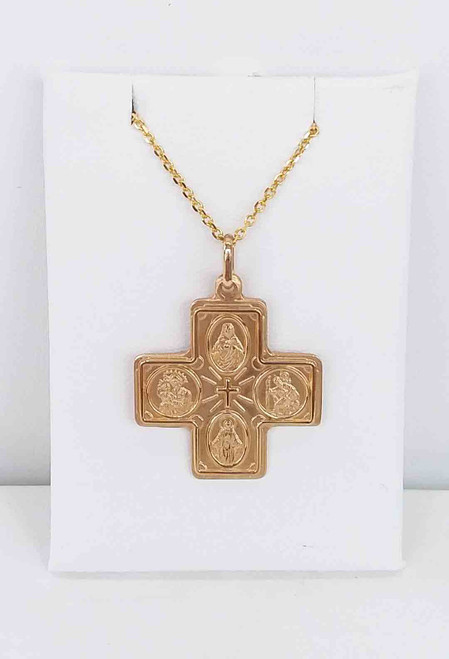 14K Yellow Gold Catholic 4 Way Medal