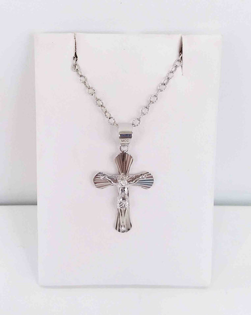 14K White Gold Diamond Cut Crucifix