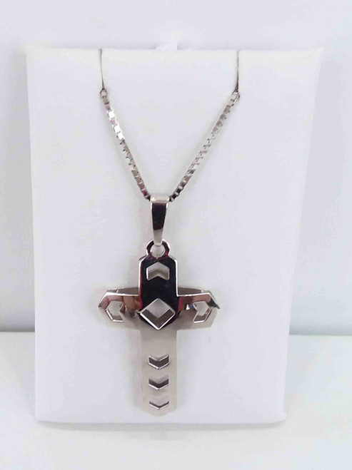 14K White Gold Open Design Cross